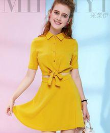 New Summer Women's Fashion Yellow Chiffon Frenum Dresses Ladies's Sexy Bare Midriff Dresses Girls 's Lovely Polo Neck Short Sleeve Dress