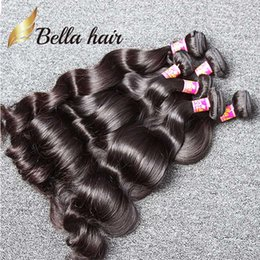 5 Bundles Unprocessed Indian Human Hair Weaves Natural Black Color Wavy Body Wave Hair Extensions Free Shipping Bella Hair