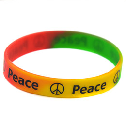 Wholesale Drop Shipping 100PCS Lot Printed Peace Silicone Wristband Bracelet A Great Way To Show Your Support