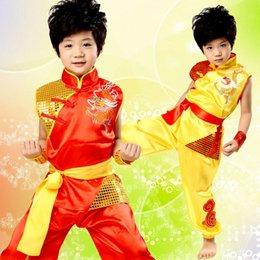 2017 new shelves Chinese dragon totem printing dragon tai martial arts martial arts boys  girls children dance clothing stage clothing spot