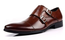 Promotion chaussures robe de moine Nouveau Hommes Double Monogramme Strap Vogue chaussures habillées en cuir Boucle marron Formal Taille US as060