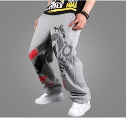 2016 comprimento cintura quadril Atacado-Loose Geral High-End Impresso Hip-Hop Inverno Moda Masculina Streetwear Full-Length Warm Track cintura elástica Multi Colors Calças comprimento cintura quadril saída