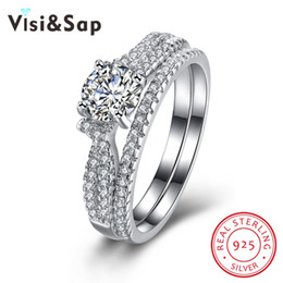 Visisap Bridal sets ring 100% 925 Sterling silver jewelry cubic zirconia wedding rings for women engagement gifts VSVR115