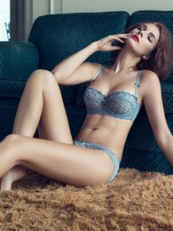 Fashion new bras sets sexy transparent bra thin undergarment lace bra net yarn embroidery Ultra-thin lingerie suit