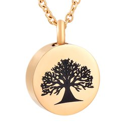 IJD9808 Round 316L Stainless Steel Keepsake Necklace Tree of Life Ashes Urn Holder Memory Pendant Necklace