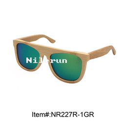 fashion mirror green polarized lens natural bamboo sunglasses