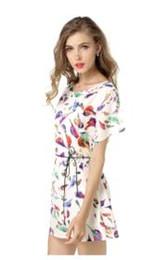 Wholesale The new big yards dress Bat sleeve birds printed chiffon dress Foreign trade hot style to send belt