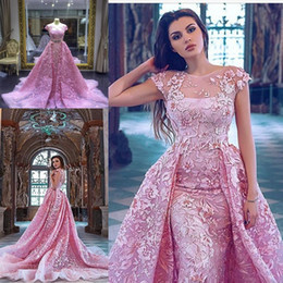 Luxury 2019 Pink Mermaid Prom Party Dresses With Detachable Train Lace Appliqued Short Sleeve Backless Formal Gowns Dress Evening Wear