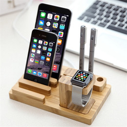 Wholesale 3 in Desktop Bamboo Wood Stationery iWatch Stand Mobile Phone Tablet Stand for pad phone apple watch pen