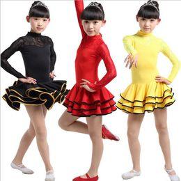 Girls Lace Long sleeve Latin Dance Dress Ballroom Stage Wear Black Tango Dress Kids Salsa Dance Skirt Competition Dancewear Cotumes