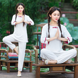 Wholesale 2016 yoga clothes the Chinese national wind suit simple and elegant loose large size women suits Breathable Fitness Clothes Yoga Outfits