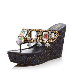 Promotion perles de diamant hauts talons 2017 Pearl Diamonds Pantoufles d'été Flip flops en cuir véritable 10 CM Talons Femmes Talons Mules à talons hauts Sandales femme Boîte Emballage L029
