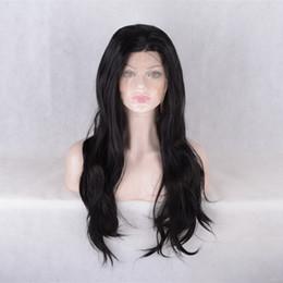 Célébrités de couleur naturelle des cheveux en Ligne-Celebrity style perruques synthétiques perruque de cheveux naturels Nuit 1B couleur naturelle avec des cheveux de bébé pelucas femmes noires perruque front dentelle