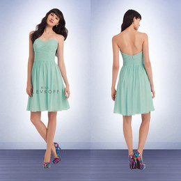 Bill Levkoff 2016 Chiffon Strapless Short Dresses with Sweetheart Neckline Cheap Mint Green Beach Bridesmaid Dresses