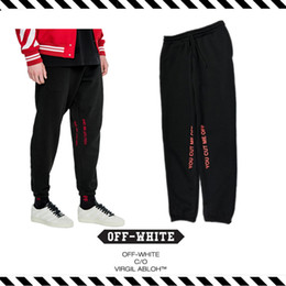 Wholesale Best Version New Arrival Fall Winter Off White YOU ME CUT OFF Hip Hop Lounge Pants Letter Upon Casual Sweatpants