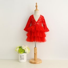2016 nouvelles robes de filles de noël 2017 nouvelles filles tutu dentelle robe rouge robe de soirée d'automne hiver robe de soirée robe de soirée d'enfants de mode occidentale nouvelles robes de filles de noël à vendre