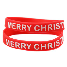 100PCS Lot Printed Logo Bracelet Merry Christmas Silicone Rubber Wristband Perfect To Use In Christmas Gift