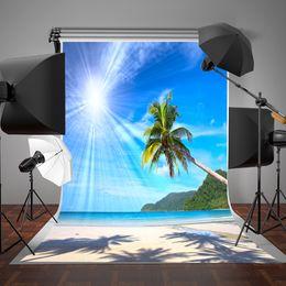 Descuento fondos de verano SUSU Fotografía de la playa Backdrops Fondo del sol de día soleado Summer Sea Photo Studio 5x7ft Seamless