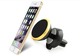 Wholesale Universal Magnetic Mobile Phone Car Holder For iPhone S S Samsung Galaxy Grand Prime Aluminum Silicone Car Air Vent Stand Mount
