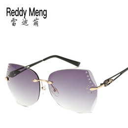 Reddy Meng Classic new summer frameless marine Luxury brands fshion sunglasses womens Glasses case bag mirror cloth China hot sale wholesale