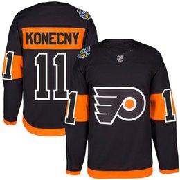 Promotion série de hockey # 11 Travis Konecny Jersey S-5XL Homme 2017 Stade Série Joueur Premier Philadelphia Flyers 100% coton brodé Logos Hockey Jerseys