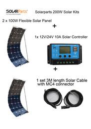 Solarparts Стандартные комплекты 200W DIY RV / лодки наборы Солнечная система 100W гибкая солнечная панель + контроллер + кабель наружного света светодиодные модуль от Поставщики р.в. комплекты солнечных панелей