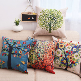 Wholesale Air Conditioning Pillowcase Car Pillowcase Cotton and Linen Pillowcase Flax Tree of Life Green Tree Rural Creative Not Included Pillow
