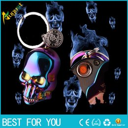 Wholesale Hot sale Charge windproof lighter vintage carved skull mask eco friendly usb cigarette lighter with retail box