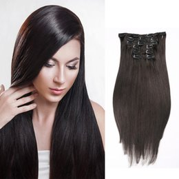 Free Shipping Long Straight Brazilian Virgin Clip In Human Hair Extesnions 7pcs set 26inch 120g #1B Natural Color Dyeable Cheap Price Hair E