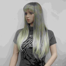 New fashion charming health blonde mix and Golden Brown root long straight bangs synthetic women's wigs