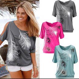 T-shirt 2017 le plus vendu Femme Off Shoulder Feather Imprimer Short Sleeve Summer Top T-shirt Pull Femme Feminina Femmes Tops Tee Shirts Femme à partir de imprimé floral t-shirts femmes fabricateur