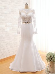 Appliques Jewel Long Sleeves Bridal Gowns From China 2016 Mermaid Blackless Wedding Dress Floor Length Real Photos