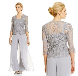 2017 Vintage Silver Mother Of the Bride Groom Dresses With Pants Suits Long Sleeve Lace Jacket mother of the bride pant suit
