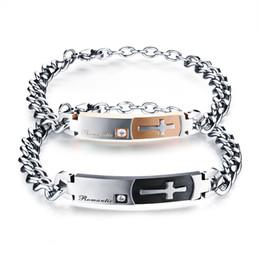The personality of men and women cross trendsetter couple bracelet on the Korean minimalist retro titanium steel jewelry creative