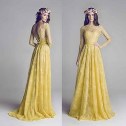 Wholesale Cheap Sheer Nylons - Elegant Yellow Lace Long Sleeve Evening Dresses Jewel Neck Beaded Floor Length Formal Evening Gowns Cheap Pageant Dress Custom Made