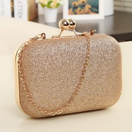 Wholesale New women banquet bag designer Glitter Chain Clutch Case Box Handbag small satchel bag fashion cute girls clip shoulder bag