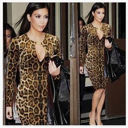 Promotion robes moulantes kardashian 2016 Kardashian même Street Style Femmes Leopard Print Slim Robes Vêtements robes bodycon robes de mode robe bandage occasionnel