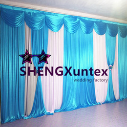 10ft*20ft White And Turquoise Color Wedding Backdrop Curtain Include The Swag And Drapes