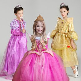 Canada 5 Style Princesse Robe Princesse Cosplay Robe Rapunzel Violet Belle Beauté Printemps Aurora Flare Manche Party Robes dentelle d'anniversaire Q0629 sleeping beauty princess dresses deals Offre