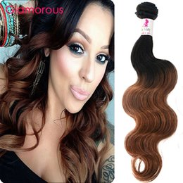 Glamorous Ombre Human Hair Weaves T1B 30 Brazilian Peruvian Malaysian Human Hair Weaves 4 Bundles Straight Body Wave Ombre Hair Extensions