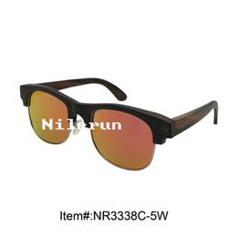 mirror orange polarized lenses gold metal full frame ebony wood half frame sunglasses