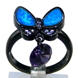 Fashion Jewelry Butterfly blue OPAL Ring Copper plating black Lovers Gift DR03011631R-K-11-5.1g Size6 7 Free shipping