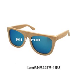 fashionable blue polarized lens bamboo frame sunglasses