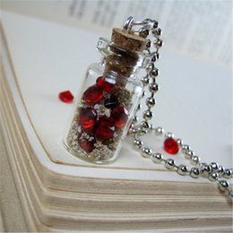 12pcs lot Buried Pirate Treasure Necklace Red Ruby Gems Cork Vial Pendant Charm necklace silver tone