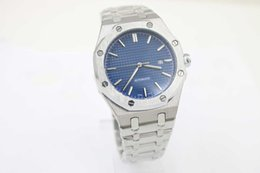 Wholesale Hot Sale Top Luxury mens Brand Automatic Mechanics mens Watches blue dial Stainless Steel Band silver strap men watches