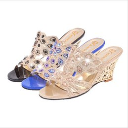 Fashion cool slippers female 2017 summer new slope with diamond hollow female high-heeled sandals fish mouth shoes