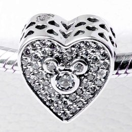 Wholesale Authentic Sterling Silver Bead Charm Openwork Love Heart With Crystal Mickey Beads Fit Women Pandora Bracelet Bangle DIY Jewelry HK3703