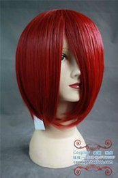 100% Brand New High Quality Fashion Picture full lace wigs>COS WIG Dark Red Cosplay Party Short Wig