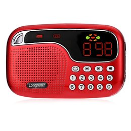 Wholesale LONGRUNER L JM2021 Mini FM Radio Speaker TF Card USB Disk Audio Files Playing MP3 Player Loudspeaker