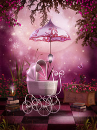 Promotion backdrops de vinyle de photographie de bébé Newborn Baby Carriage Photography Backdrops Vinyl Glitter Stars Big Moon Papillons Livres Fleurs roses Jardin Fond d'écran 5x7ft